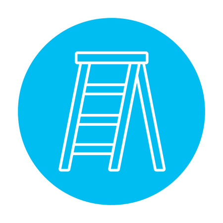 stepladder: Stepladder line icon for web, mobile and infographics. Vector white icon on the light blue circle isolated on white background. Illustration