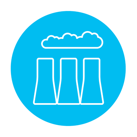 distill: Factory pipes line icon for web, mobile and infographics. Vector white icon on the light blue circle isolated on white background.