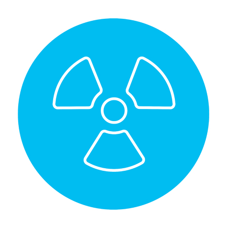 Ionizing radiation sign line icon for web, mobile and infographics. Vector white icon on the light blue circle isolated on white background.