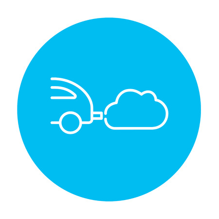 polluting: Car spewing polluting exhaust line icon for web, mobile and infographics. Vector white icon on the light blue circle isolated on white background. Illustration