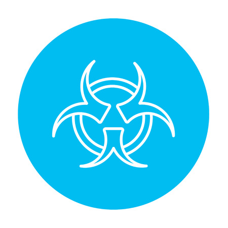 pandemia: Bio hazard sign line icon for web, mobile and infographics. Vector white icon on the light blue circle isolated on white background.