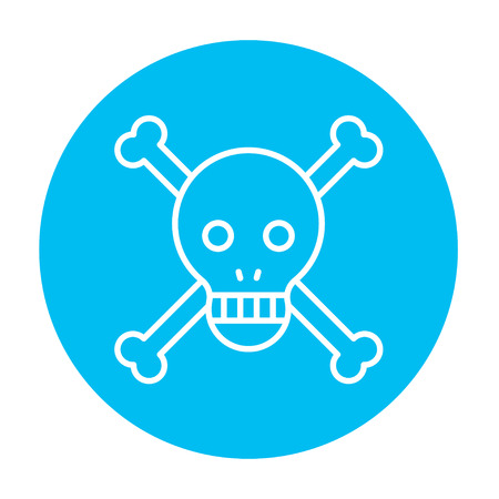 cross bones: Skull and cross bones line icon for web, mobile and infographics. Vector white icon on the light blue circle isolated on white background.