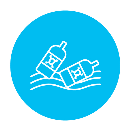 harmful to the environment: Bottles floating in the water line icon for web, mobile and infographics. Vector white icon on the light blue circle isolated on white background. Illustration