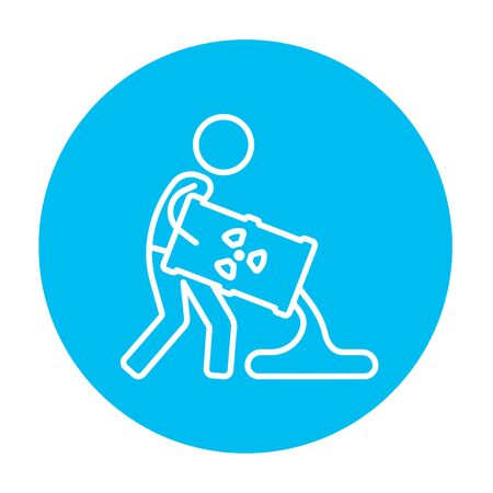 A man pouring the liquid from the barrel with ionizing radiation sign for web, mobile and infographics. Vector white icon on the light blue circle isolated on white background.