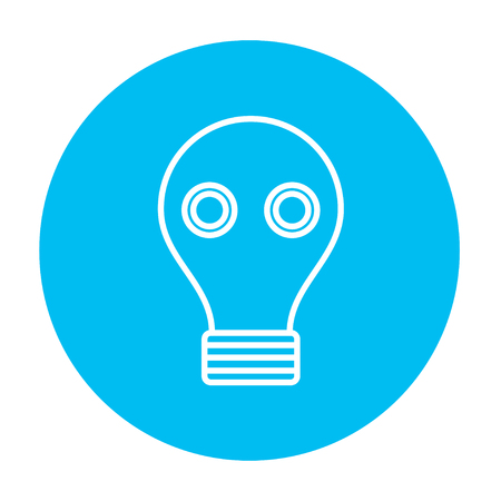 web graphics: Gas mask line icon for web, mobile and infographics. Vector white icon on the light blue circle isolated on white background.