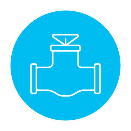 gas pipe: Gas pipe valve line icon for web, mobile and infographics. Vector white icon on the light blue circle isolated on white background. Illustration