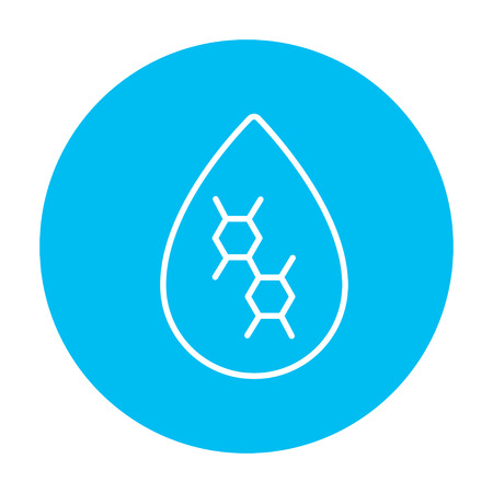 Oil drop line icon for web, mobile and infographics. Vector white icon on the light blue circle isolated on white background. Stock Illustratie