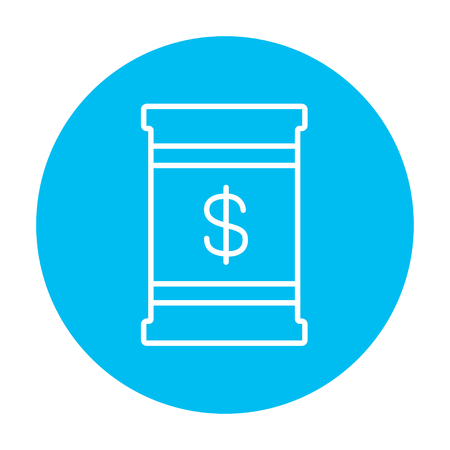 Barrel with dollar symbol line icon for web, mobile and infographics. Vector white icon on the light blue circle isolated on white background.