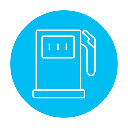 fillup: Gas station line icon for web, mobile and infographics. Vector white icon on the light blue circle isolated on white background. Illustration