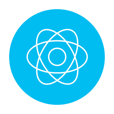 design objects: Atom line icon for web, mobile and infographics. Vector white icon on the light blue circle isolated on white background.