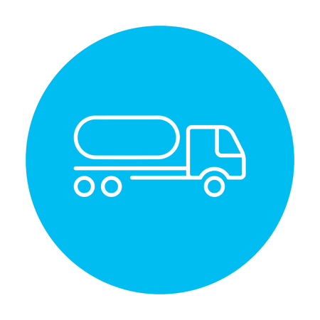 fuel truck: Fuel truck line icon for web, mobile and infographics. Vector white icon on the light blue circle isolated on white background.