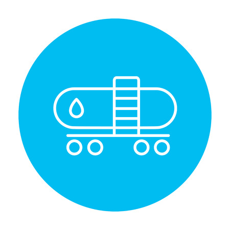 Oil tank line icon for web, mobile and infographics. Vector white icon on the light blue circle isolated on white background.