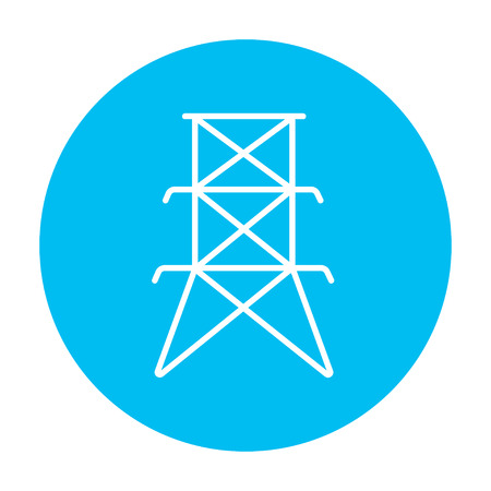 powerlines: Electric tower line icon for web, mobile and infographics. Vector white icon on the light blue circle isolated on white background.