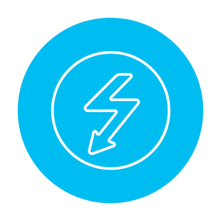 going down: Lightning arrow going down inside circle line icon for web, mobile and infographics. Vector white icon on the light blue circle isolated on white background.