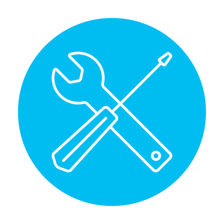 Screwdriver and wrench tools line icon for web, mobile and infographics. Vector white icon on the light blue circle isolated on white background. Illustration