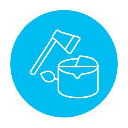 ecological damage: Deforestation line icon for web, mobile and infographics. Vector white icon on the light blue circle isolated on white background.