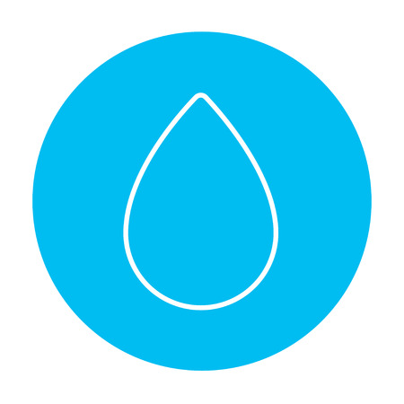 petroleum blue: Water drop line icon for web, mobile and infographics. Vector white icon on the light blue circle isolated on white background. Illustration