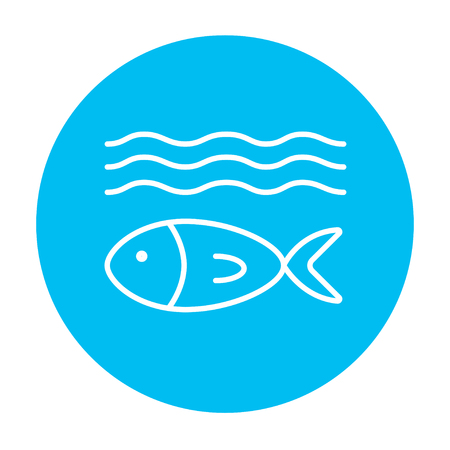 ecological damage: Fish under water line icon for web, mobile and infographics. Vector white icon on the light blue circle isolated on white background. Illustration