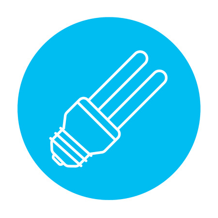 Energy saving light bulb line icon for web, mobile and infographics. Vector white icon on the light blue circle isolated on white background. Illustration