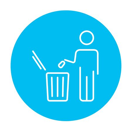 garbage man: Man throwing garbage in a bin line icon for web, mobile and infographics. Vector white icon on the blue gradient square with rounded corners isolated on white background. Illustration