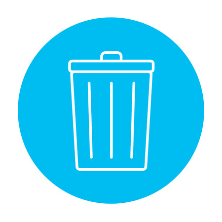 Trash can line icon for web, mobile and infographics. Vector white icon on the blue gradient square with rounded corners isolated on white background.
