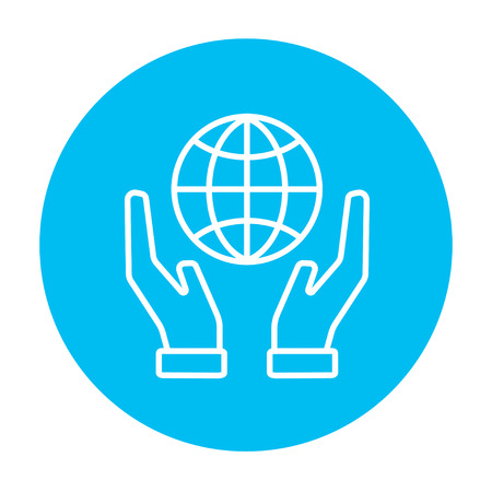 hands holding globe: Two hands holding globe line icon for web, mobile and infographics. Vector white icon on the light blue circle isolated on white background.