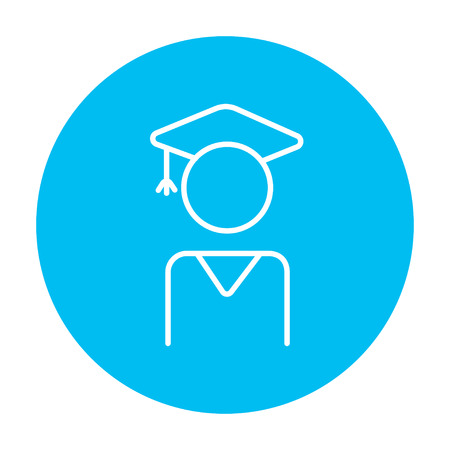 Graduate line icon for web, mobile and infographics. Vector white icon on the light blue circle isolated on white background. Ilustração