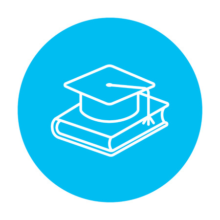 Graduation cap laying on book line icon for web, mobile and infographics. Vector white icon on the light blue circle isolated on white background.