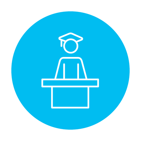 Graduate standing near tribune line icon for web, mobile and infographics. Vector white icon on the light blue circle isolated on white background. Ilustração