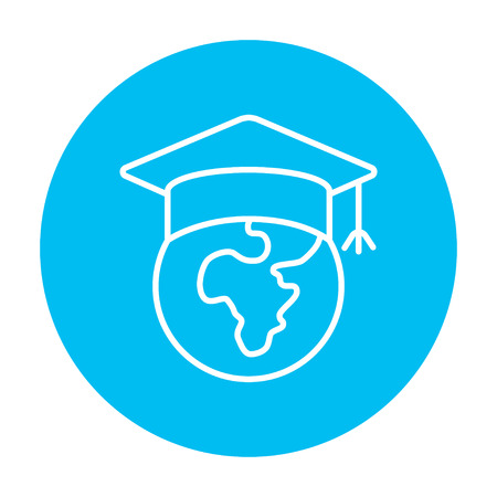 web cap: Globe in graduation cap line icon for web, mobile and infographics. Vector white icon on the light blue circle isolated on white background.