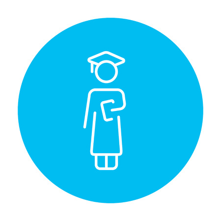 hold high: Graduate line icon for web, mobile and infographics. Vector white icon on the light blue circle isolated on white background. Illustration
