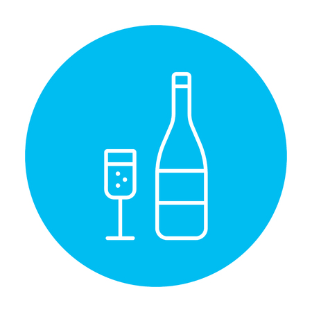 Bottle of champaign and glass line icon for web, mobile and infographics. Vector white icon on the light blue circle isolated on white background.