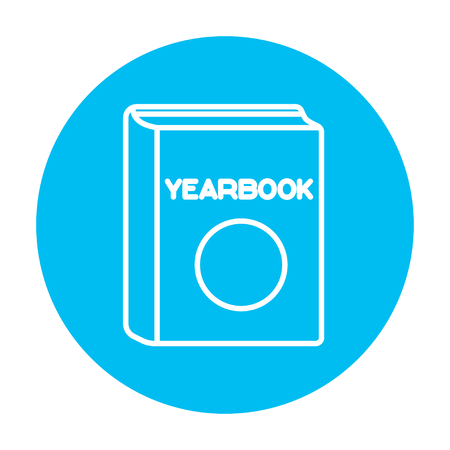 yearbook: Yearbook line icon for web, mobile and infographics. Vector white icon on the light blue circle isolated on white background.