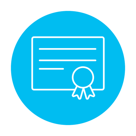 school bills: Certificate line icon for web, mobile and infographics. Vector white icon on the light blue circle isolated on white background. Illustration