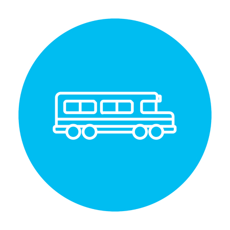 schoolbus: School bus line icon for web, mobile and infographics. Vector white icon on the light blue circle isolated on white background. Illustration