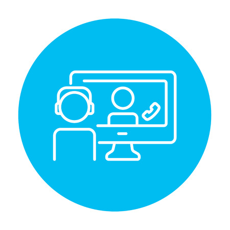 video chat: Two men communicating through video chat on laptop line icon for web, mobile and infographics. Vector white icon on the light blue circle isolated on white background. Illustration
