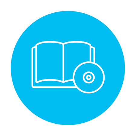 audiobook: Audiobook and cd disc line icon for web, mobile and infographics. Vector white icon on the light blue circle isolated on white background.