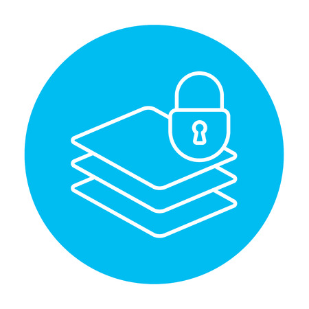 Stack of papers with lock line icon for web, mobile and infographics. Vector white icon on the light blue circle isolated on white background. Illustration