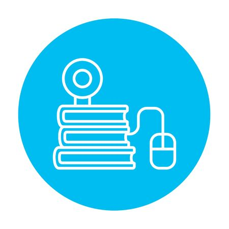 elearn: Computer mouse connected to a stack of books with webcam on it line icon for web, mobile and infographics. Vector white icon on the light blue circle isolated on white background. Illustration