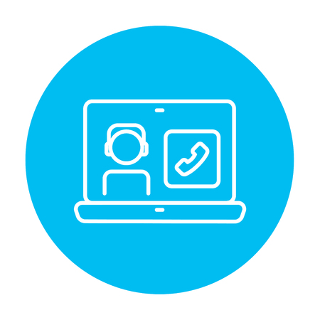 reciever: Laptop with a man in headphones on a screen for web, mobile and infographics. Vector white icon on the light blue circle isolated on white background.