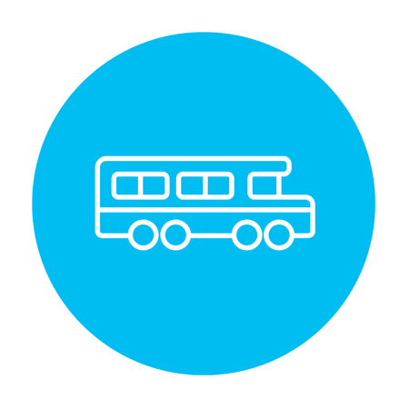 web element: School bus line icon for web, mobile and infographics. Vector white icon on the light blue circle isolated on white background. Illustration
