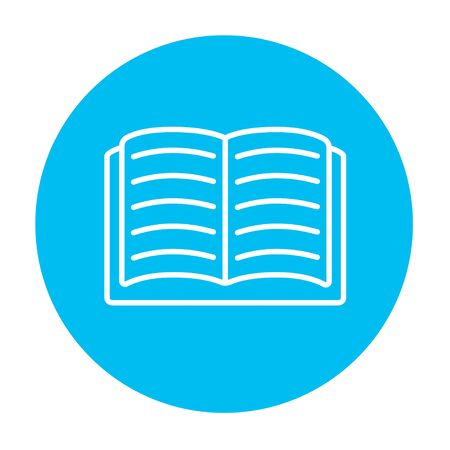 design objects: Open book line icon for web, mobile and infographics. Vector white icon on the light blue circle isolated on white background.