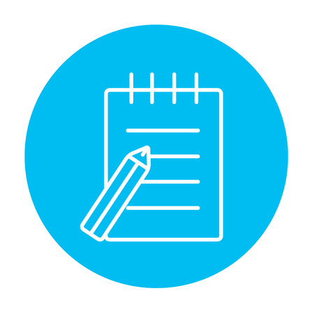 writing pad: Writing pad and pen line icon for web, mobile and infographics. Vector white icon on the light blue circle isolated on white background. Illustration