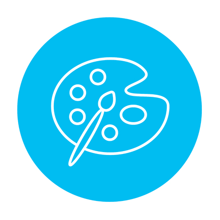 Paint brush with palette line icon for web, mobile and infographics. Vector white icon on the light blue circle isolated on white background.