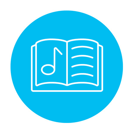 music book: Music book line icon for web, mobile and infographics. Vector white icon on the light blue circle isolated on white background.