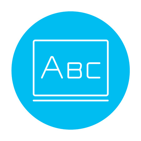 lexicon: Letters abc on the blackboard line icon for web, mobile and infographics. Vector white icon on the light blue circle isolated on white background.
