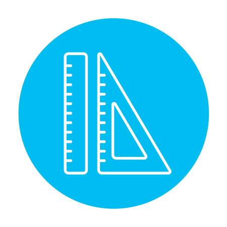 Rulers line icon for web, mobile and infographics. Vector white icon on the light blue circle isolated on white background. Ilustracja