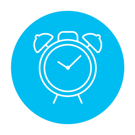Alarm clock line icon for web, mobile and infographics. Vector white icon on the light blue circle isolated on white background.