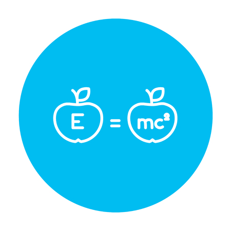 mc2: Two apples with formulae line icon for web, mobile and infographics. Vector white icon on the light blue circle isolated on white background. Illustration