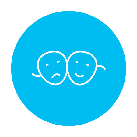 pessimistic: Two theatrical masks line icon for web, mobile and infographics. Vector white icon on the light blue circle isolated on white background.